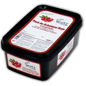 pure de arandano rojo congelado sin piel y sin pepitas